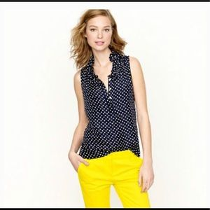 j. crew polka dot sleeveless silk top